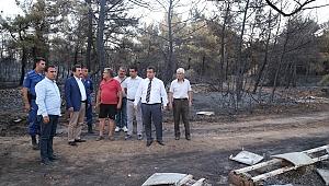 Vali Tavlı yangın bölgesinde