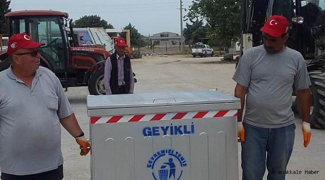 Yeni çöp konteynerleri Geyikli'ye ulaştı