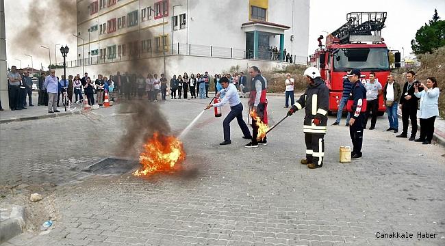 Biga'da yangın tatbikatı
