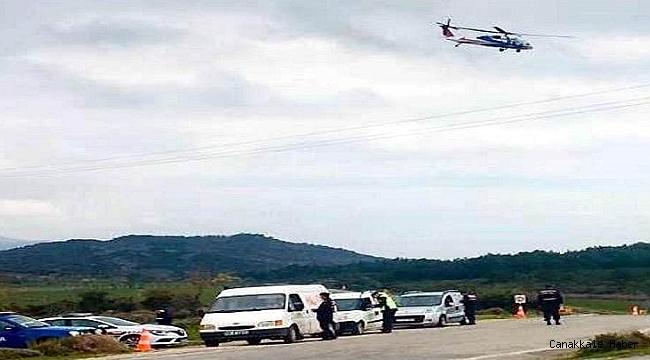 Çanakkale'de helikopter ile trafik denetimi