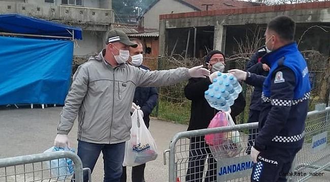 Çan Belediyesi'nden karantina bölgesine yardım...