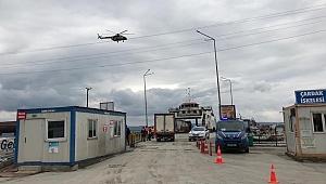 Çanakkale'de helikopterle trafik denetimi