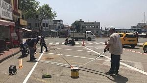 Gelibolu'da yol çizgileri yenileniyor