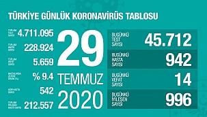 Türkiye 29 Temmuz koronavirüs tablosu