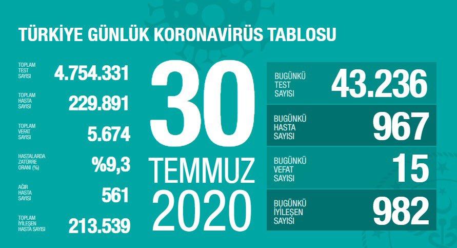 Türkiye 30 Temmuz koronavirüs tablosu