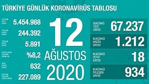 Türkiye 12 Ağustos koronavirüs tablosu