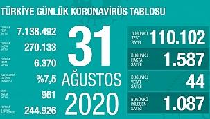 Türkiye 31 Ağustos Koronavirüs tablosu