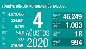 Türkiye 4 Ağustos koronavirüs tablosu