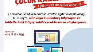 """Çanakkale Belediyesi'nden """"Bilgisayarsız Çocuk Kalmasın"""" projesi"""