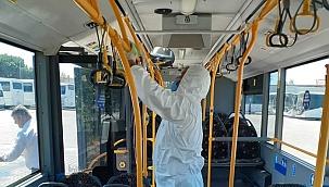 Otobüslerde dezenfeksiyon çalışmaları aralıksız sürüyor