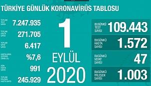 Türkiye 1 Eylül Koronavirüs tablosu