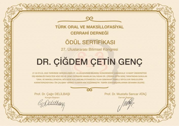 27. Uluslararası Bilimsel Kongresi'nden ÇOMÜ'ye Birincilik Ödülü