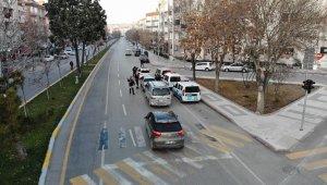 Aksaray'da polisin kısıtlama denetimi drone ile görüntülendi