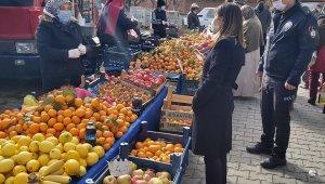 Çavdarhisar pazarında Korona virüs denetimi