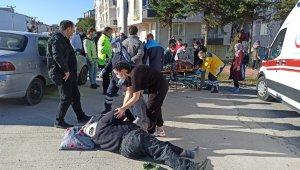 Kazada eşinin öldüğünü zanneden motosiklet sürücüsü dakikalarca gözyaşı döktü