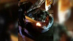 Otomobilin kaputunun altına giren tilkiyi itfaiye ekipleri çıkardı