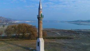Porsuk Barajı'nda su seviyesi düştü, eski minare tamamen gün yüzüne çıktı