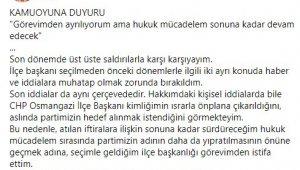 Taciz iddiaları ile gündeme gelen CHP Osmangazi İlçe Başkanı görevinden istifa etti