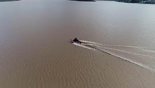 Ayvacık barajındaki arama çalışmaları havadan görüntülendi