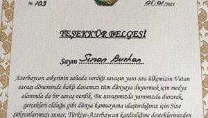 Azerbaycan'dan Anadolu Yayıncılar Derneği ve gazetecilere teşekkür belgesi