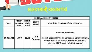 Elektrik kesintisi duyurusu
