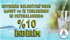 Nevşehir Belediyesinden su faturalarına yüzde 10 indirim