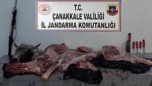 Tüfekle vurdukları hayvanı çalanlara suçüstü