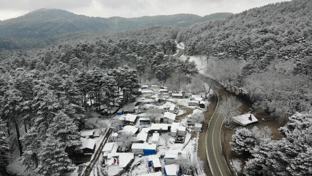 Kazdağları'nda kar manzaraları havadan görüntülendi
