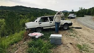 Takla atan otomobildeki arılar yola saçıldı