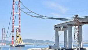 Çanakkale Köprüsü'nün ilk tabliye bloğu yerleştirildi